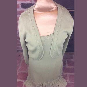 Knit Bolero Jacket w/ Pick Stitch & Pleated Hem